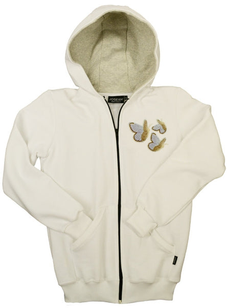 Women's zip hoodie with embroidered butterfly design.