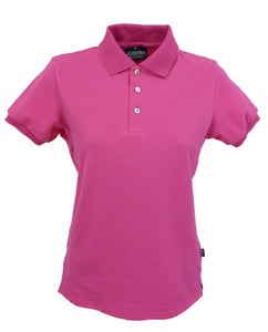 womens fuschia polo shirt, made in England