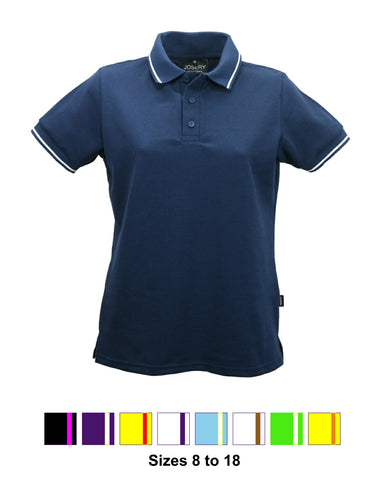 J203 Women's Polo Shirt with single stripe trim