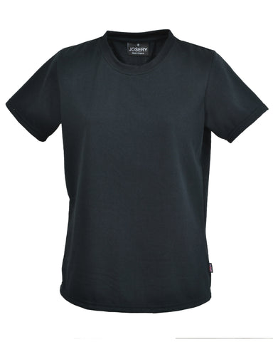 Women's crew neck short sleeve T-Shirt in black, Made in UK