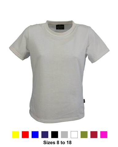 Women's white crew neck T-Shirt, also available in 9 other colours