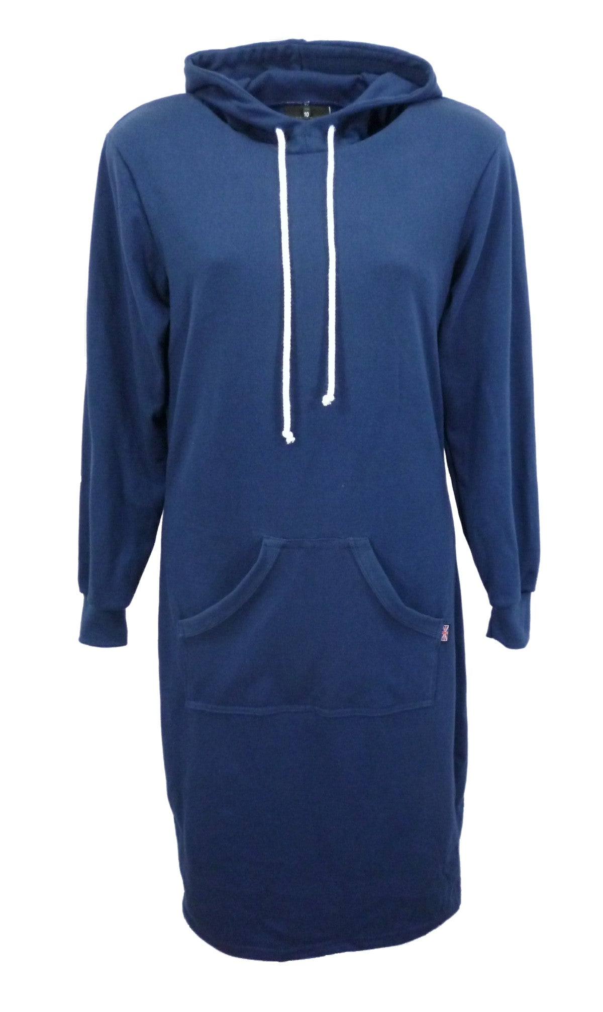 Navy long sleeve hooded jersey dress, made in England