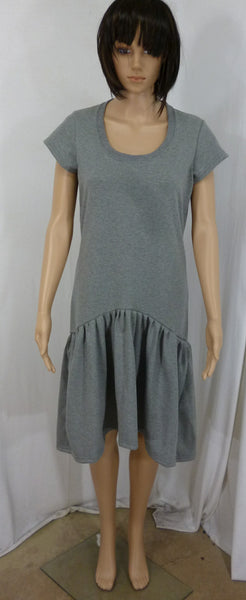 Grey marl cotton jersey pep dress, made in England