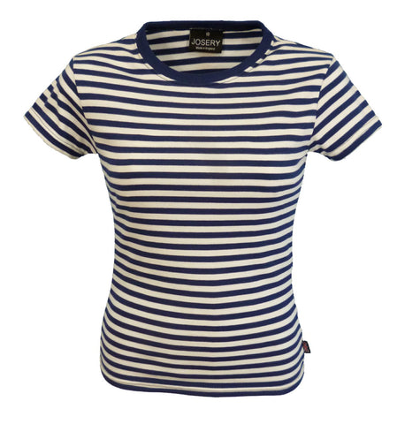 J311 Women's short sleeve, Breton style T-Shirt in white & navy