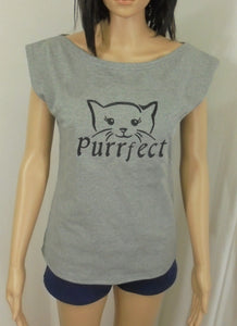 Sale item:  J317  Women's Slouch Neck T-Shirt with Purrfect cat embroidery design