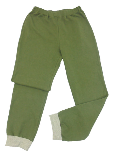 Olive green lounge pants, made in England