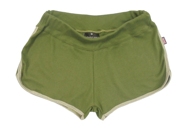 Olive green lounge shorts for women, made in England