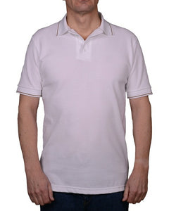Polo shirt with narrow brown and beige striped trims.