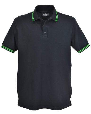 Men's black polo shirt with double emerald striped trim, made in UK