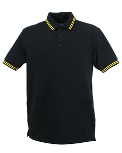 black polo shirt with double yellow striped trim to collar, british made