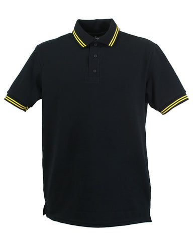 Black polo shirt with double yellow stripe trim to collar and sleeves, British Made.