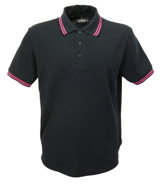 Black polo shirt with double fuschia striped trim to collar, british made