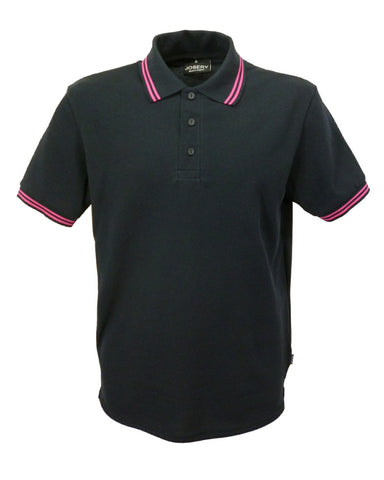mens polo shirt black with fuschia stripes, made in England