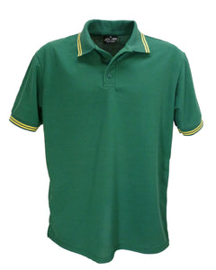 Bottle green polo shirt with double yellow striped trim, made in England