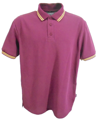 Burgundy polo with double yellow stripe trim, made in England