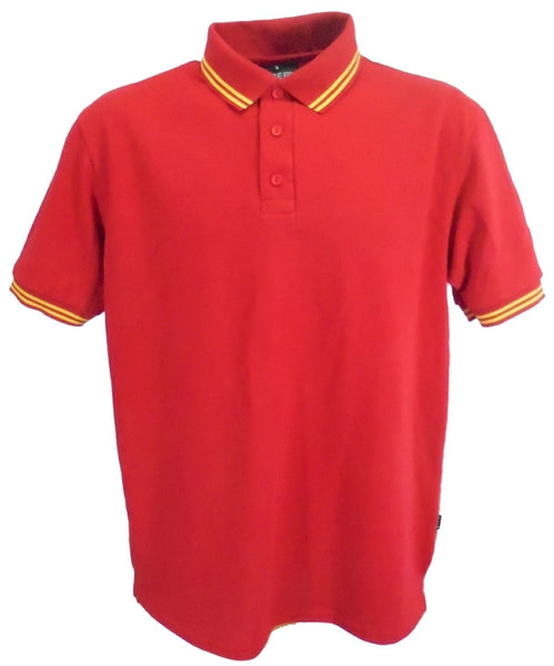 Men's red polo shirt with double yellow stripe trim, UK made
