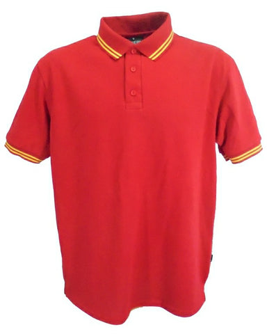 Red polo shirt with yellow stripes in trims, British Made