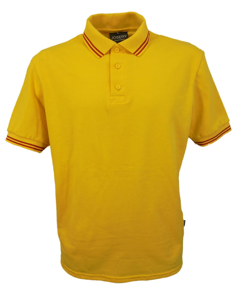 Yellow polo shirt with double red striped trim to collar, british made