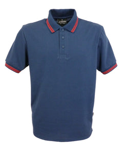 Navy polo shirt with double red stripe trim