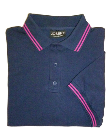 Mens navy polo shirt with fuschia stripe trim, made in England