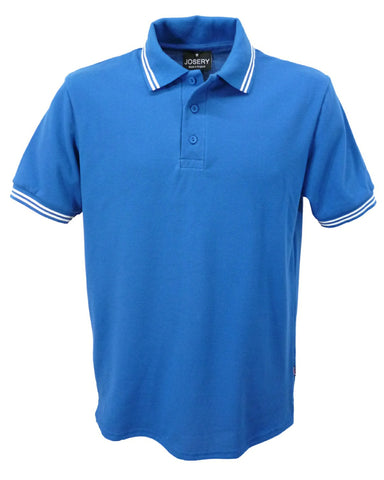 Royal Blue Polo shirt with white double stripe trim