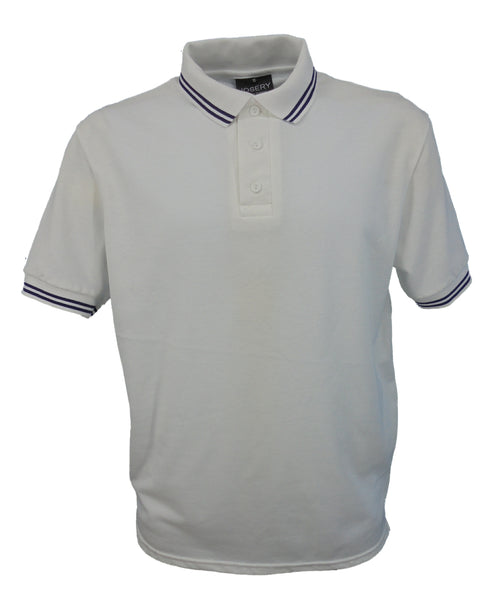 White polo shirt with double navy striped trim to collar, British Made