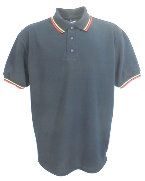 Black polo shirt with red and yellow stripe trim, made in England