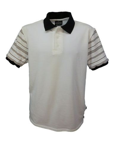 J506 Men's white polo shirt with flat knitted black stripe pattern sleeve