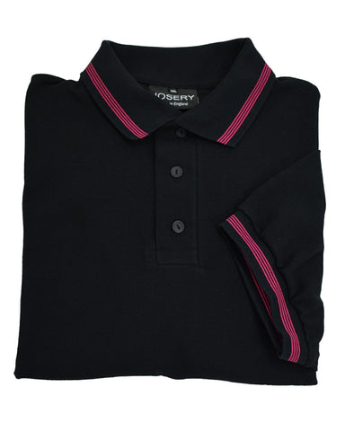 Black polo shirt with narrow 4 stripe trim, made in England