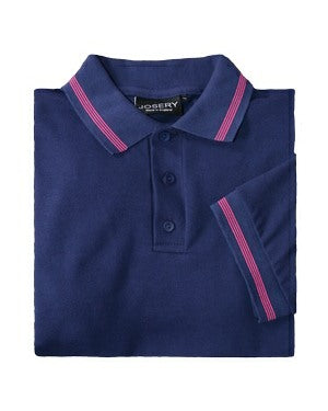 J508 Men's short sleeve polo shirt with narrow 4 stripe trim