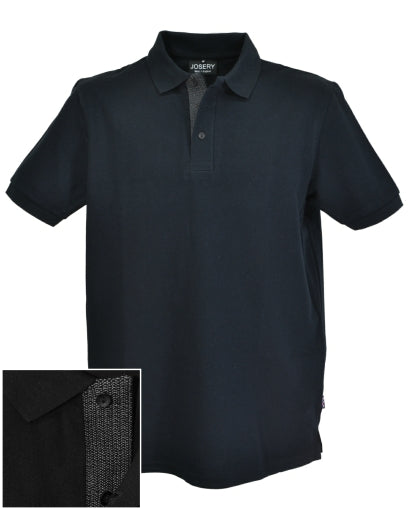 Black polo shirt with embroidered lower placket, individually made in UK