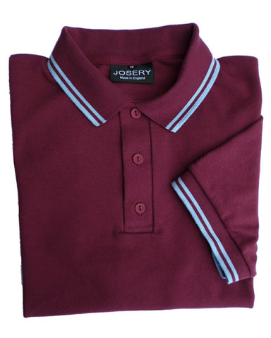 J516 Burgundy Polo Shirt with Light Blue Tip and Stripe