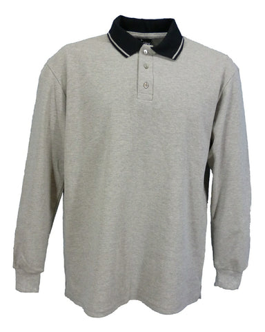 Grey Marl long sleeve polo Shirt with black collar, made in UK