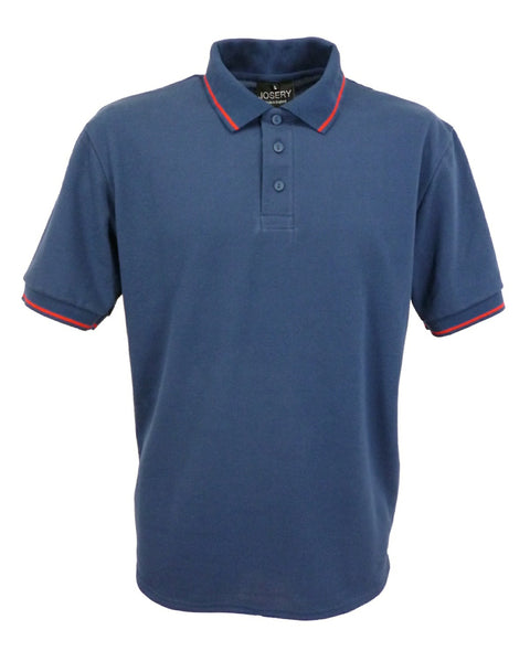 J521 Men's Navy Polo Shirt with single Red stripe