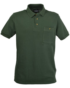 Olive green polo shirt with breast pocket, made in England.