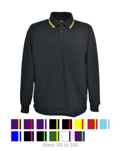 J528 Men's Long Sleeve Polo Shirt with double stripe trim on collar