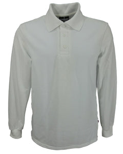 Men's long sleeve slim fit polo shirt, white, made in England