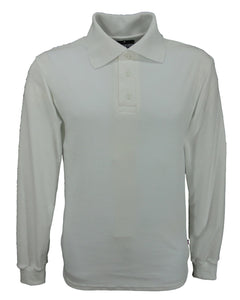 Long sleeve interlock polo shirt white, made in England