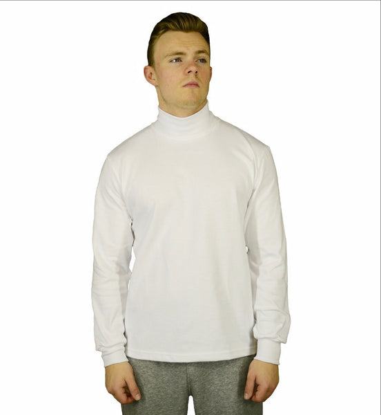white polo neck shirt, made in England