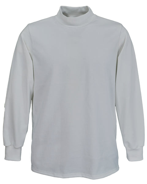 Men's white mock turtleneck shirt, long sleeve.   Made in England