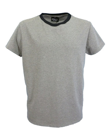 Ringer T-Shirt, contrast neck, grey marl + black, made in England