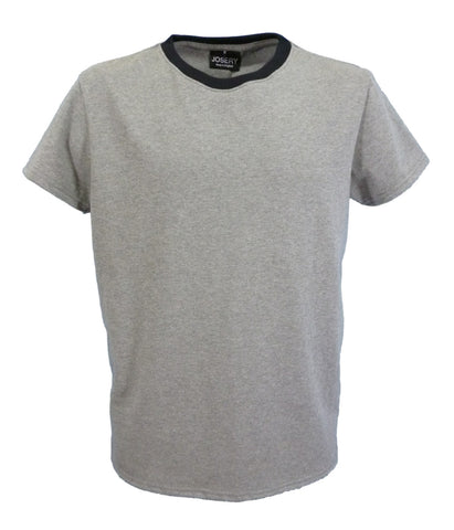 Slim Fit Ringer T-Shirt, contrast neck, grey marl + black, made in England