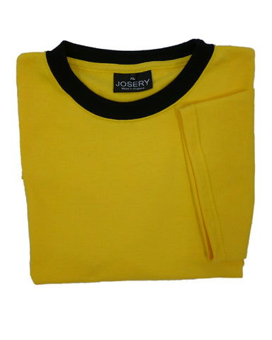 Yellow T-Shirt with black neck band, made in England