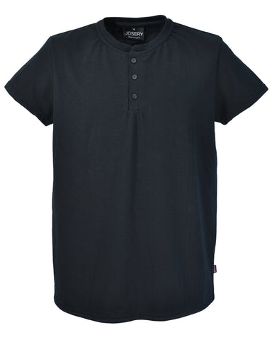 Men's Henley style T-Shirt in Black, made in England