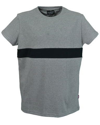 Men's grey marl t-shirt with black chest band, made in england