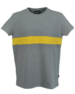 Men's grey marl T-Shirt with yellow band, made in Britain