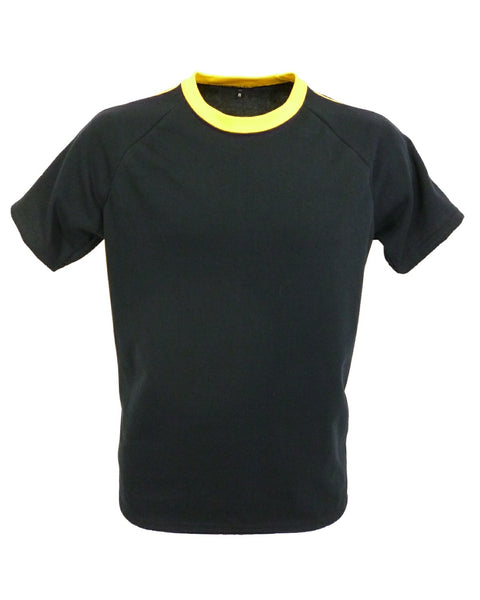 Men's raglan T-Shirt, black with yellow trim.   Made in England