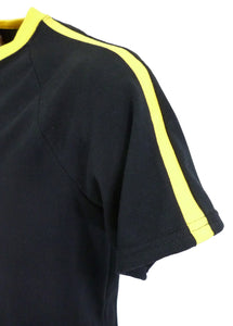 J721 Men's black raglan sleeve T-Shirt with yellow neckband and sleeve stripes