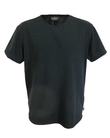 Men's black T-Shirt with binding neckband, made in England.
