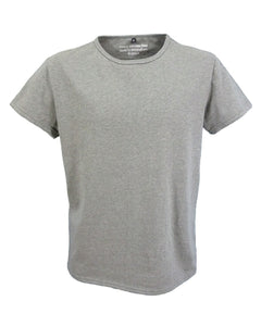 Men's grey marl t-shirt with neat binding neck band.